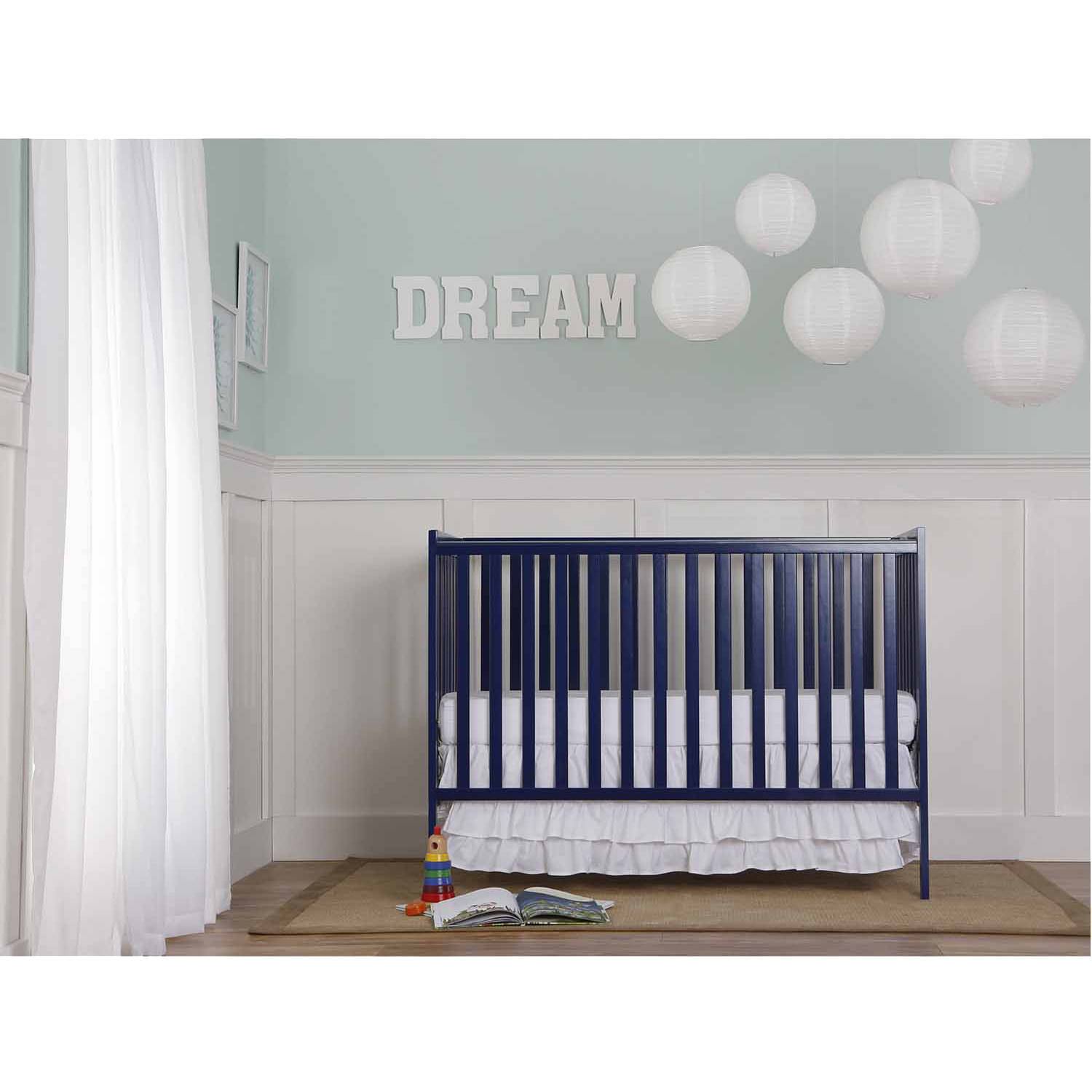 Dream On Me Synergy 5-in-1 Convertible Crib, Royal Blue