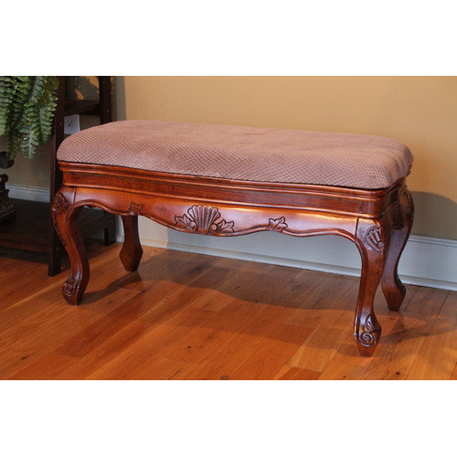 International Caravan Hand Carved Vanity Bench