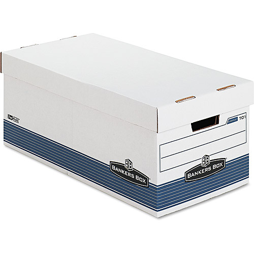 Bankers Box Stor/File Storage Box with Locking Lid, White, 4/Carton