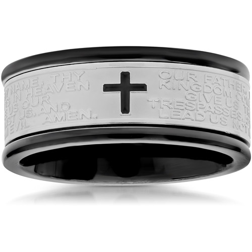 Men's Stainless Steel with Black IP Plating Lord's Prayer Spinner Band, 7.5mm