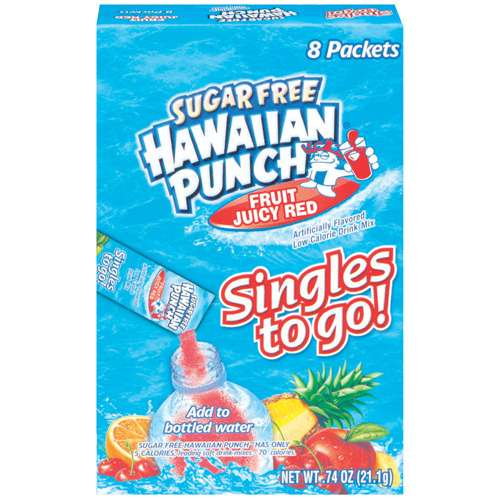 Hawaiian Punch Singles Fruit Juicy Red Drink Mix, 8 Ct