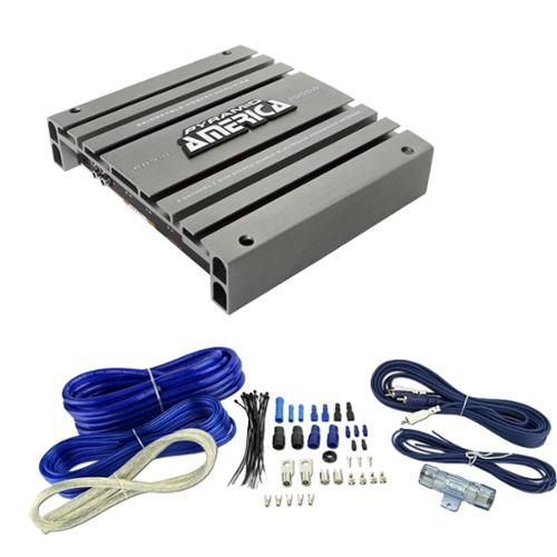 PYRAMID PB918 2000W 2 Channel Car Audio Amplifier Bridge + 4 Gauge Amp Kit Blue