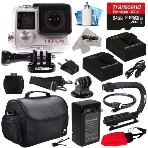 GoPro HERO4 Hero 4 Silver Edition 4K Action Camera Camcorder with 64GB MicroSD Card, 2x Batteries, Charger, Large Case, Stabilizer Handle Grip, HDMI, MicroSD Reader, Dust Cleaning Care Kit (CHDHY-401)