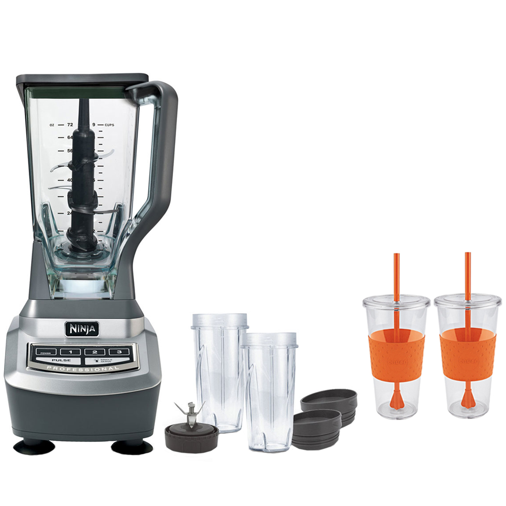 Ninja BL740 Professional Table Top 1100-watt Blender - Matte Gray With 2 x Copco Eco First Tumbler 24 Ounce Togo Cup Mug - Orange