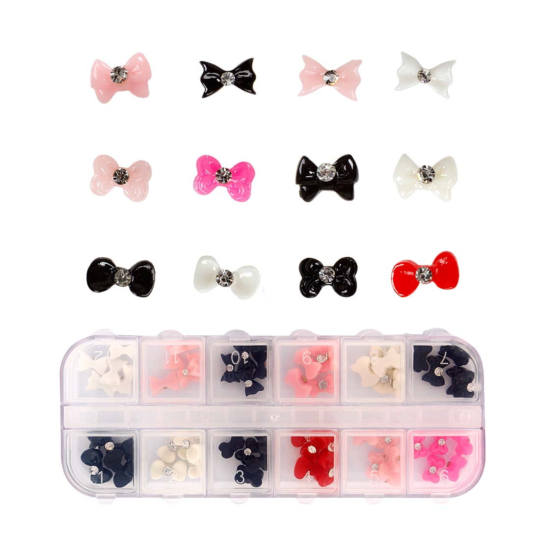 BMC 60pc Mixed Color Acrylic Bows DIY 3D Nail Art Cabochon Stud Decoration Set