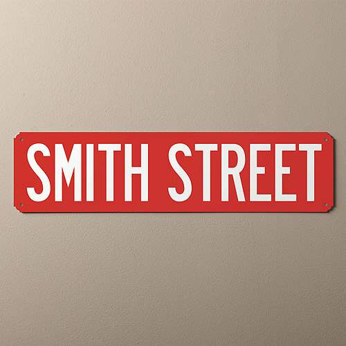 Personalized You Name It Street Sign, Red and White
