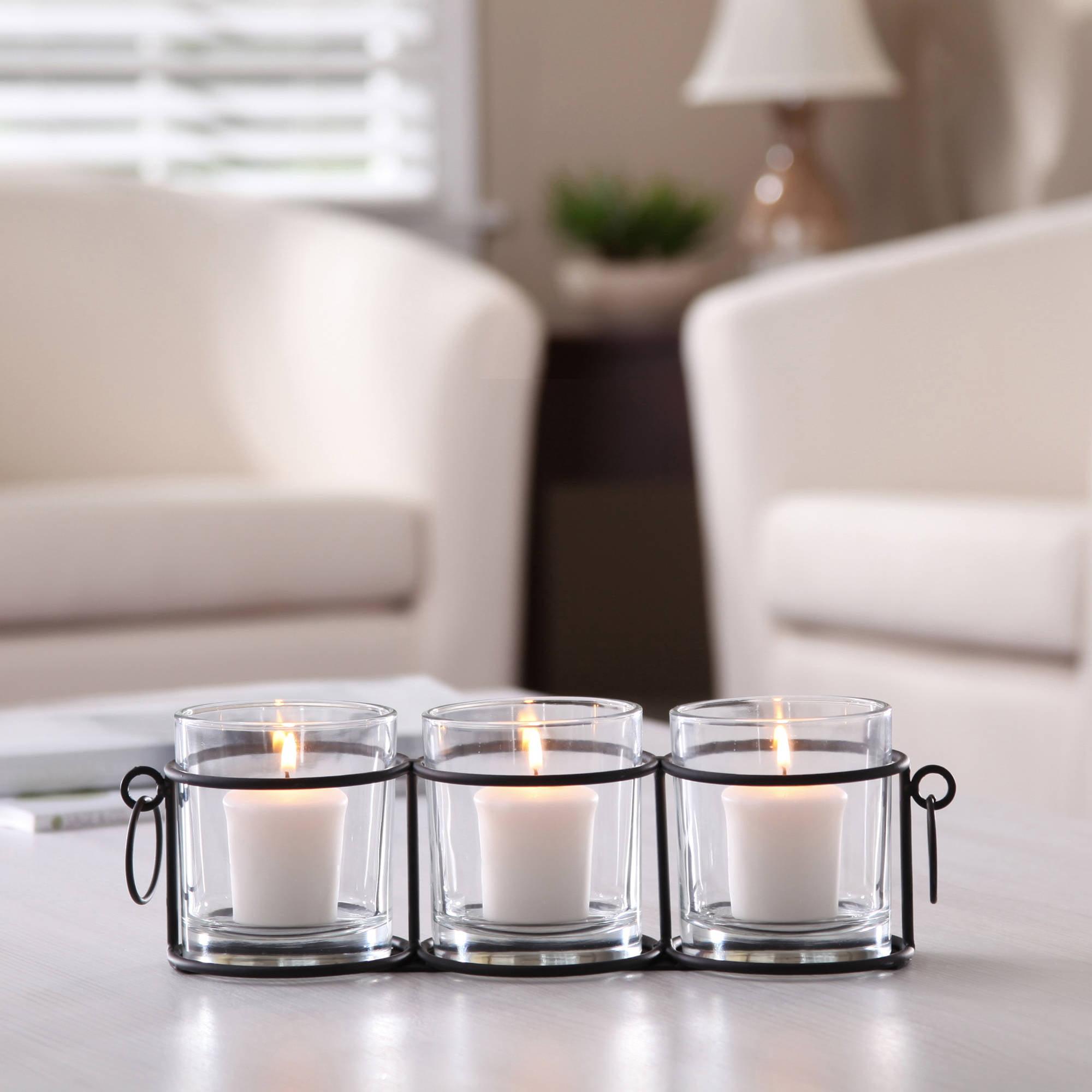 Better Homes and Gardens 3 Votive Jar Rail Candle Holder, Black