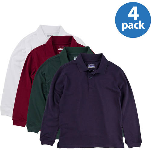 George Boys' School Uniforms Long Sleeve Pique Polo Shirts, 4-Pack Value Bundle