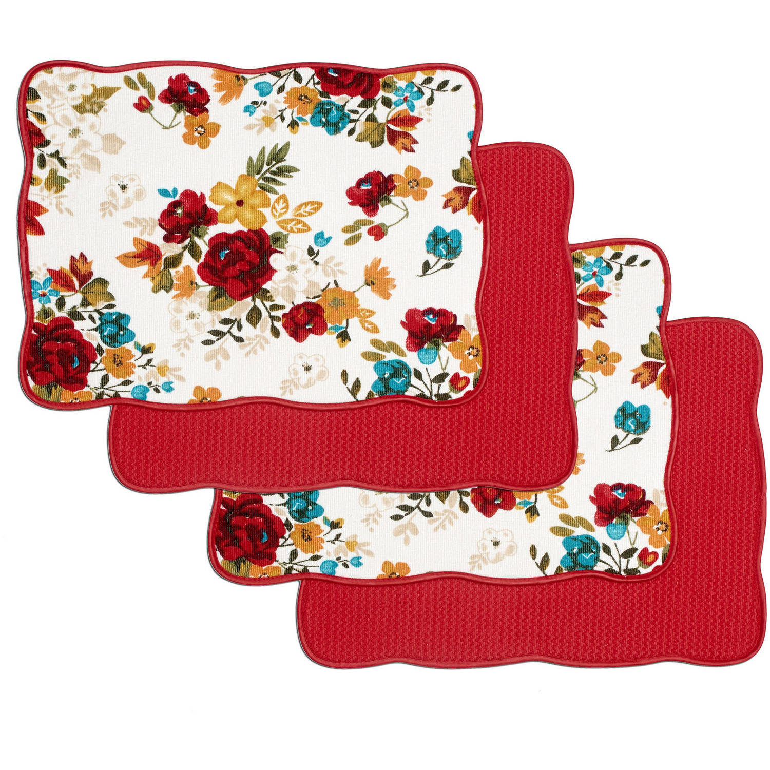 Pioneer Woman Timeless Floral Dish-Drying Mats, Pack of 4
