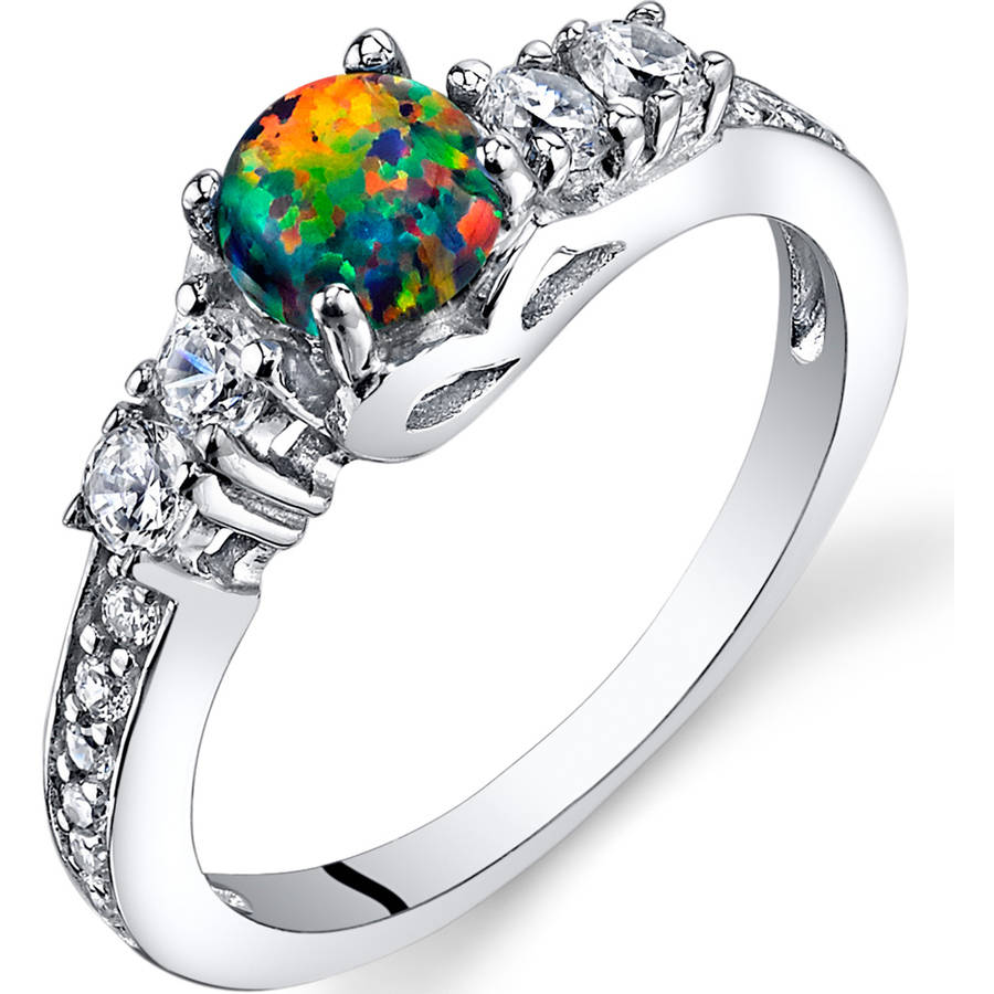 Oravo 0.50 Carat T.G.W. Created Black Opal Engagement Ring in Rhodium-Plated Sterling Silver