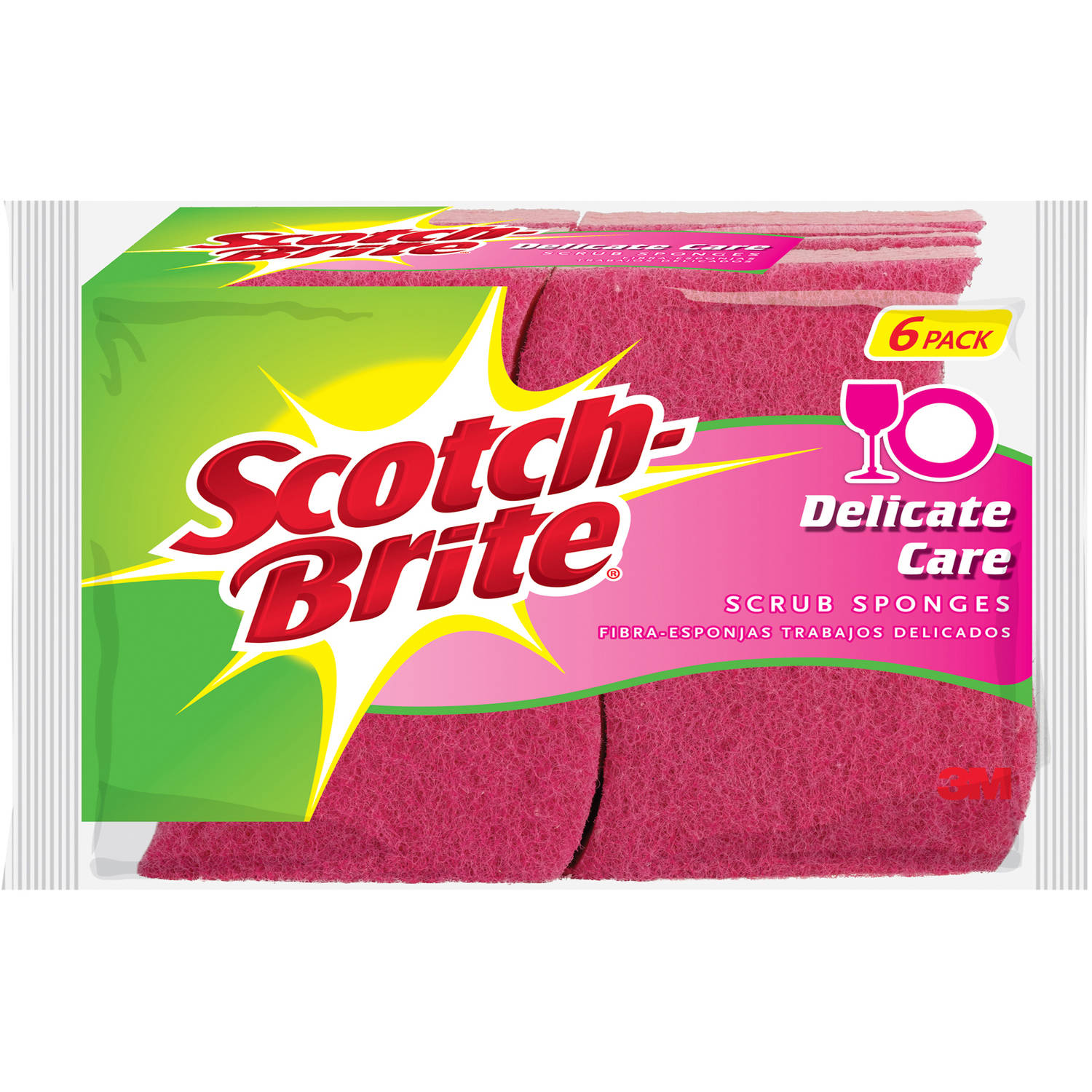 Scotch-Brite Delicate Care Scrub Sponges, 6 count