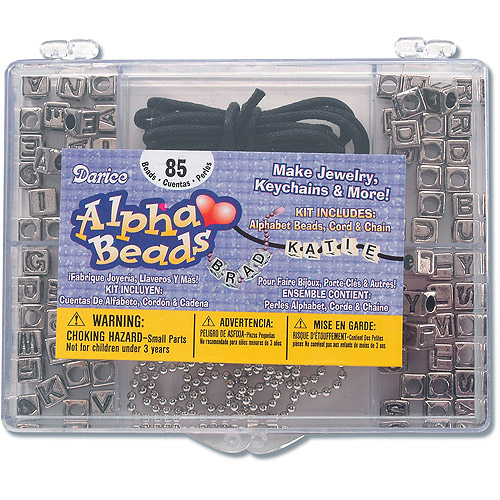 Darice Plastic Alphabet Bead Kit, 85pc, 6mm W/Cord
