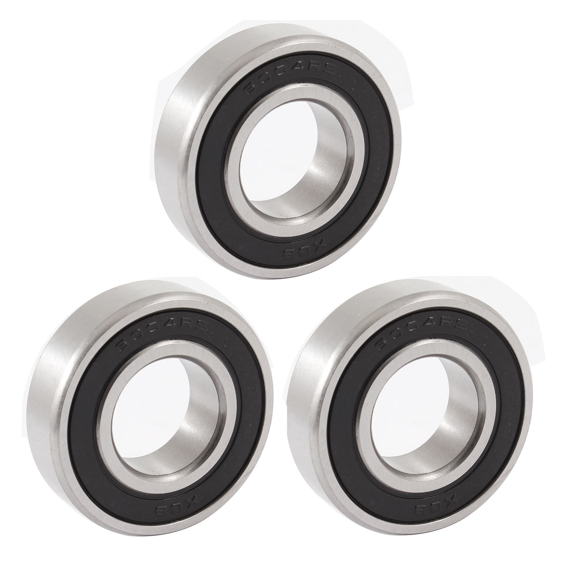 6004RS 42mm Outer 20mm Inner Dia Single Row Deep Groove Ball Bearing 3 Pcs