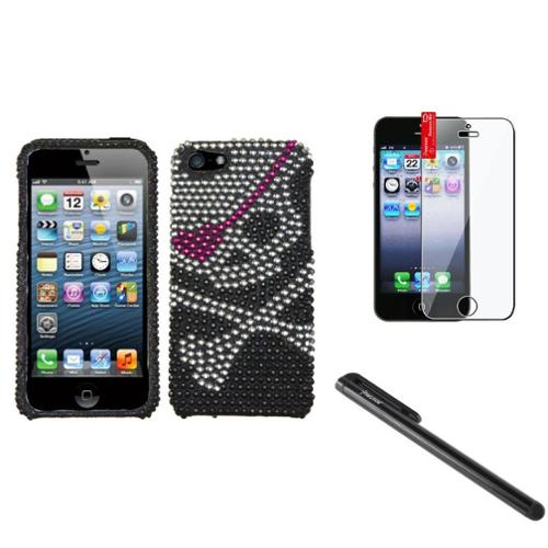 Insten Skull Diamond Case Bling Hard Cover For Apple iPhone 5 5s+Pen+Screen Film