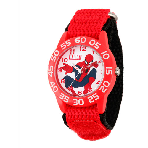 Marvel Spider-Man Boys' Plastic Case Watch, Red Nylon Strap