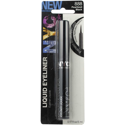 NYC New York Color Liquid Eyeliner, 888 Pearlized Black, 0.17 fl oz