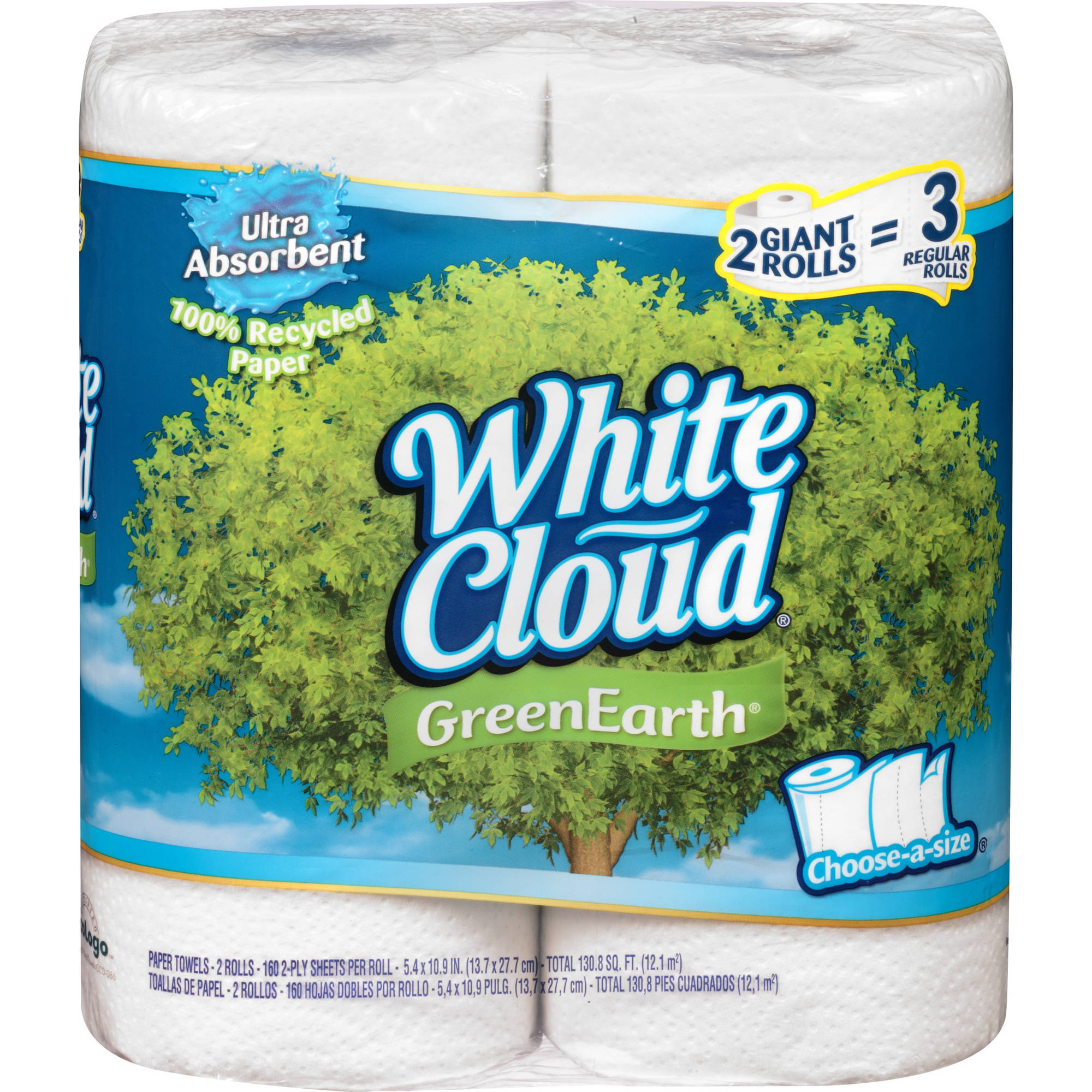 White Cloud GreenEarth Recycled Paper Towels, 2-Pack, 160 Sheets Each