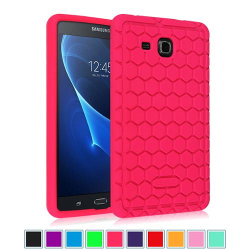 "Samsung Galaxy Tab A 7.0"" Tablet Silicone Case - Fintie Lightweight [Anti Slip] Shock Proof Cover Kids Friendly, Magenta"