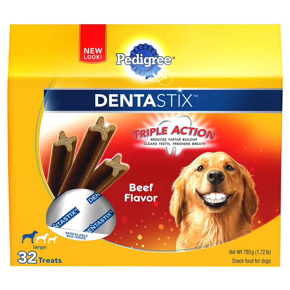 PEDIGREE DENTASTIX Beef Flavor Large Treats for Dogs - 1.72 Pounds 32 Treats