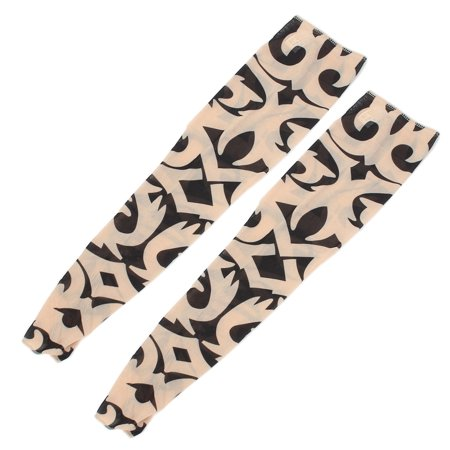 Tribal Print Sun Protection Costume Stocking Temporary Tattoo Arm Sleeve 2 Pcs