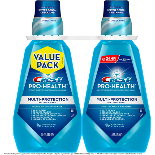 Crest Pro-Health Multi-Protection Refreshing Clean Mint Flavor Mouthwash, 33.8 fl oz, 2 count