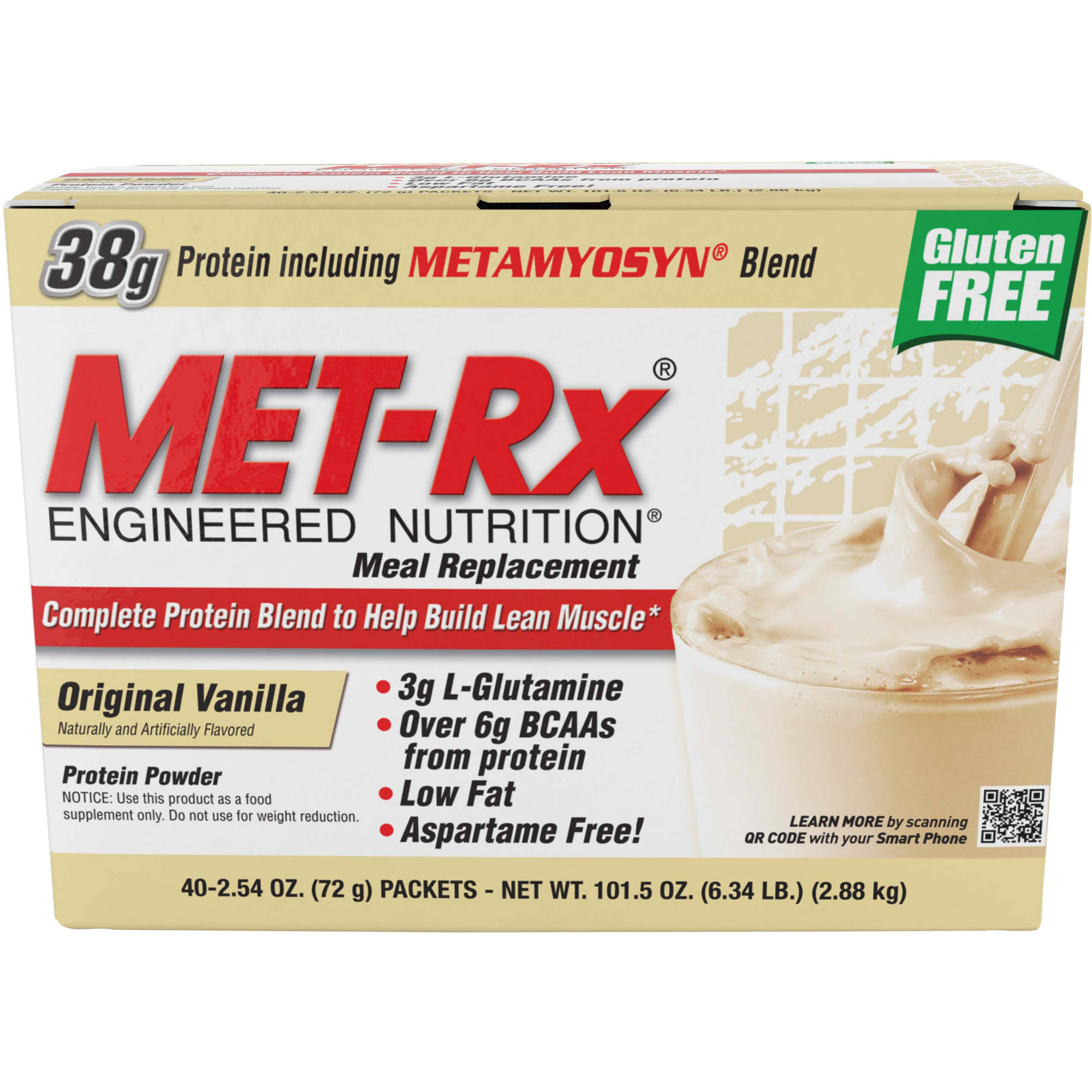 MET-Rx Meal Replacement Original Vanilla Protein Powder, 2.54 oz, 40 count