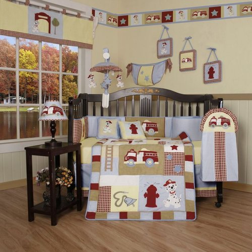 Geenny CRIB-CF-2016 Fire Truck 13-Pc Baby Bedding Set