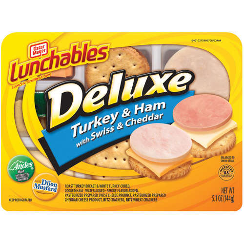 Oscar Mayer Lunchables: Deluxe Turkey & Ham W/Swiss & Cheddar Cheese Lunchables, 5.10 oz