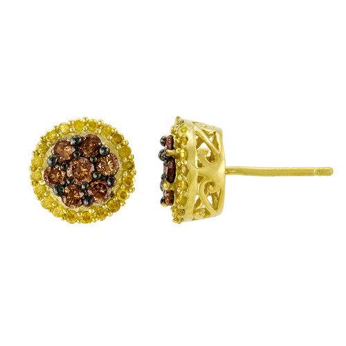 JewelExcess Round Cut Genuine Diamond Stud Earrings