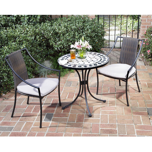 Home Styles 3 Piece Bistro Set with Marble Table and Laguna Dining Chairs, Black/Grey
