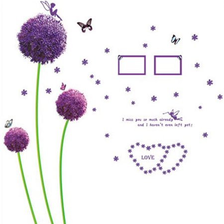 Unique Bargains Home Room Purple Flowers Pattern Wall Sticker Mural DIY Decal Decor for Home Essential - image 3 de 3