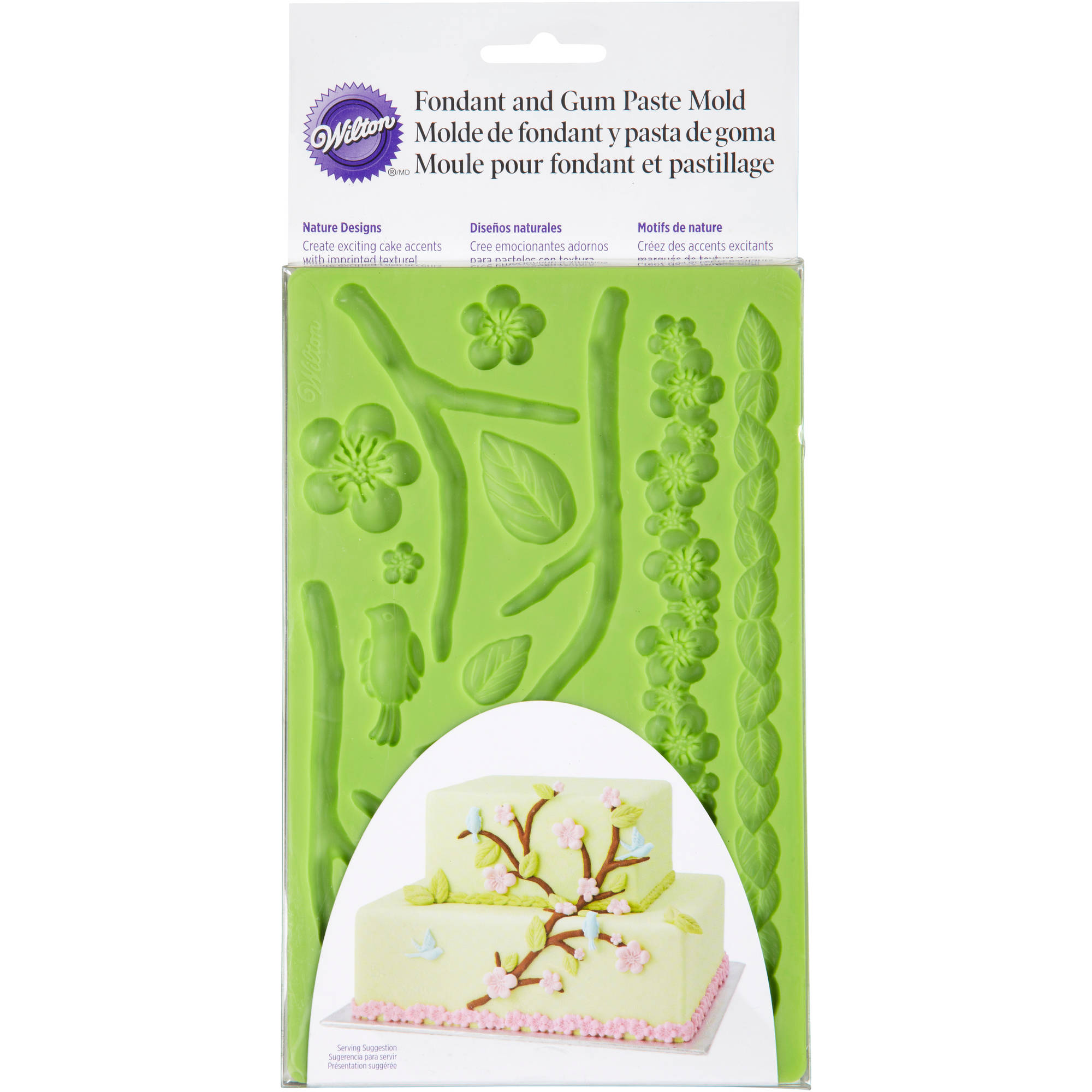"Wilton 5.7""x10.6"" Fondant & Gum Paste Silicone Mold, Nature 409-2565"