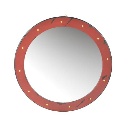 "24"" Red with Yellow Polka Dot Distressed Finish Round Wall Mounted Mirror"