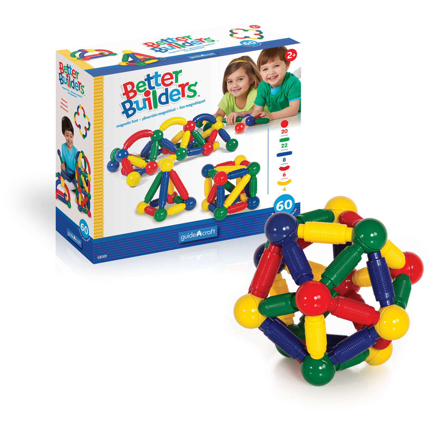 Guidecraft Better Builders Play Set, 60-Piece