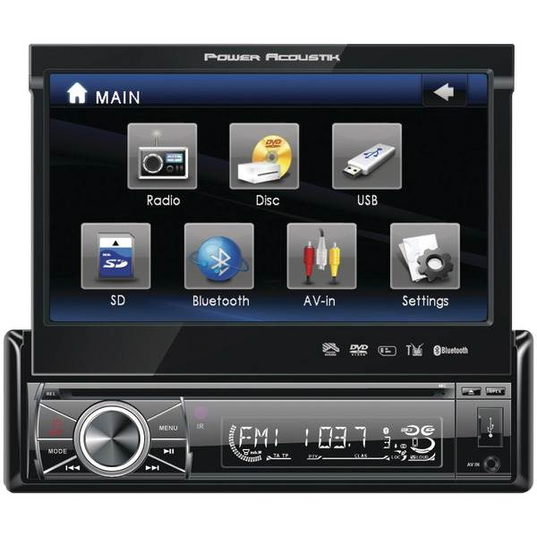 "Power Acoustik PTID-8920B - 7"" Single Din In-Dash Flip-Up Source Unit (Bluetooth)"