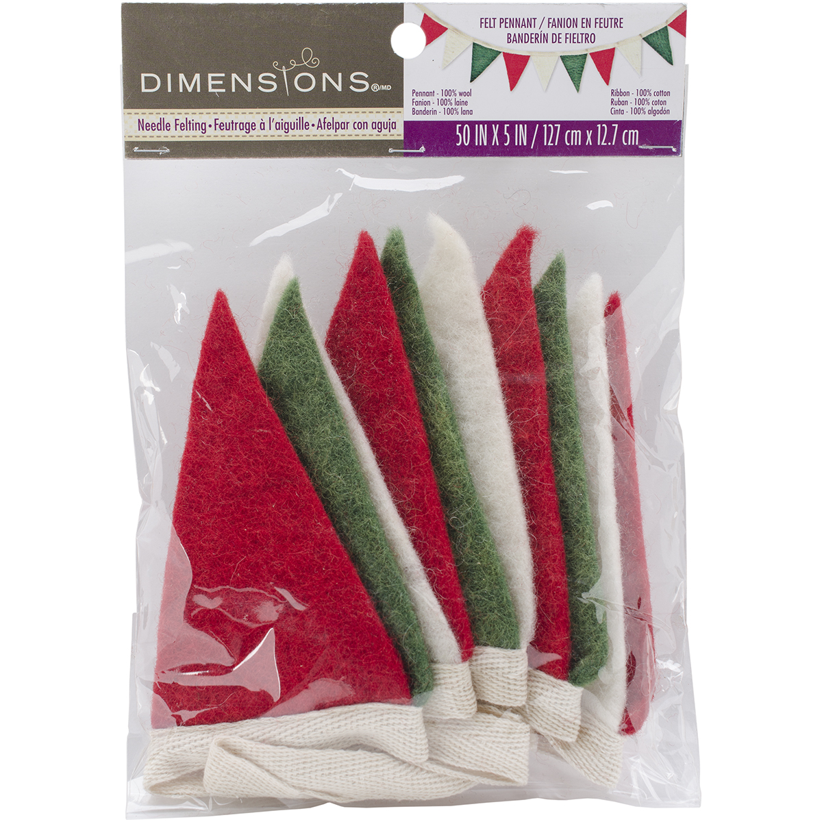 Feltworks Mini Pennant Banner-Red, Green & White 5 Inch X 50 Inch