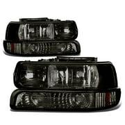 For 99-06 Chevy Silverado/Tahoe Replacement Headlight/Bumper 4-PC Lamp Set (Smoke Lens) - GMT800 00 01 02 03 04 05