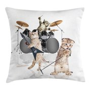 Animal Decor Throw Pillow Cushion Cover, Cool Fancy Hard Cute Rocker Band of Kittens with Singer Guitarist Cats Print, Decorative Square Accent Pillow Case, 16 X 16 Inches, Multicolor, by Ambesonne