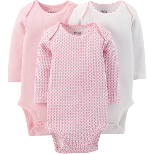 Child Of Mine by Carter's Newborn Baby Girl Long Sleeve Bodysuit, 3 Pack