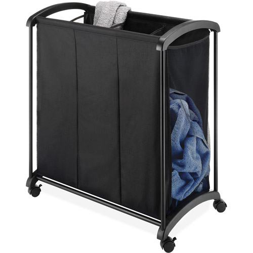 Whitmor 3-Section Laundry Sorter, Black