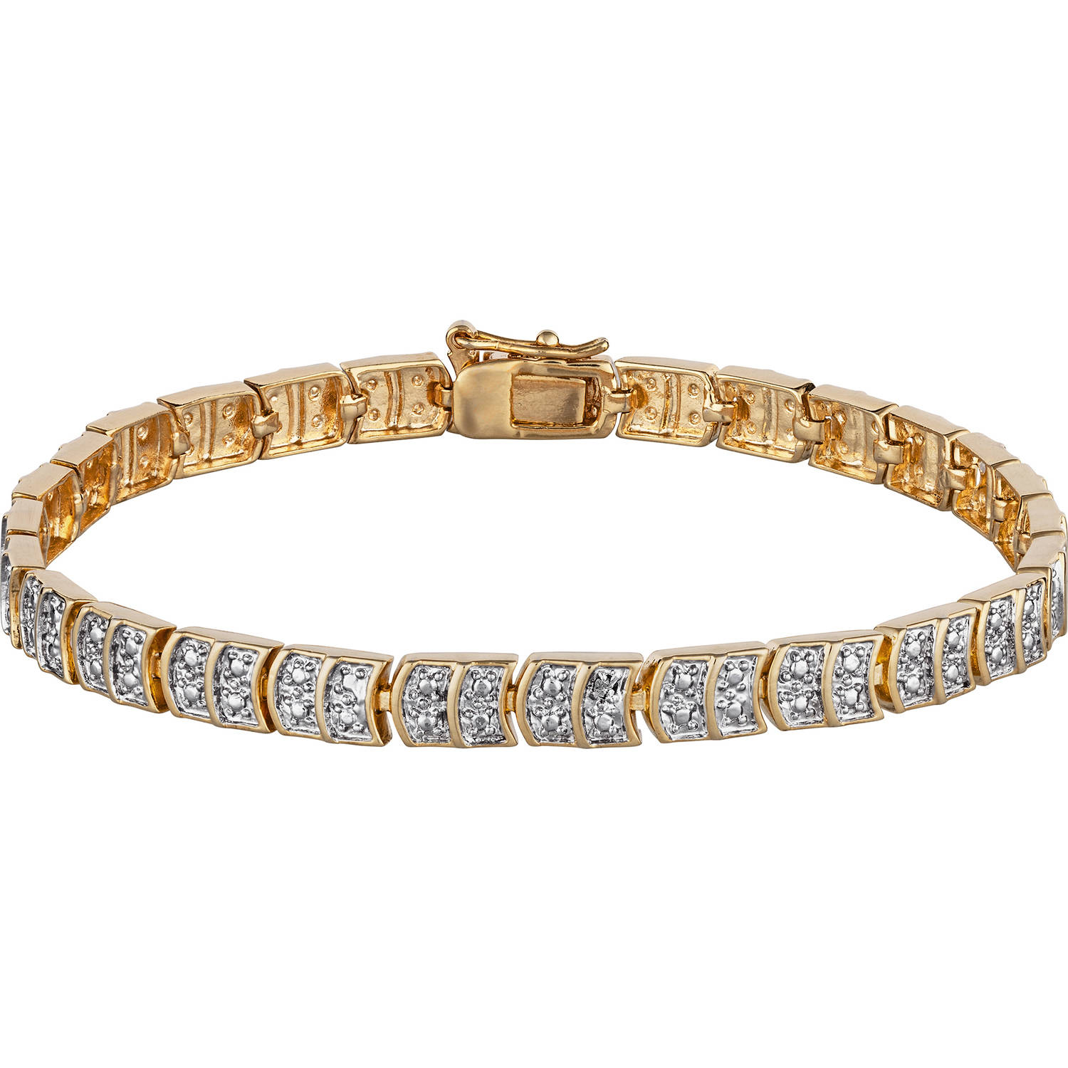 Diamond Accent 14kt Gold-Plated Tennis Bracelet, 8""
