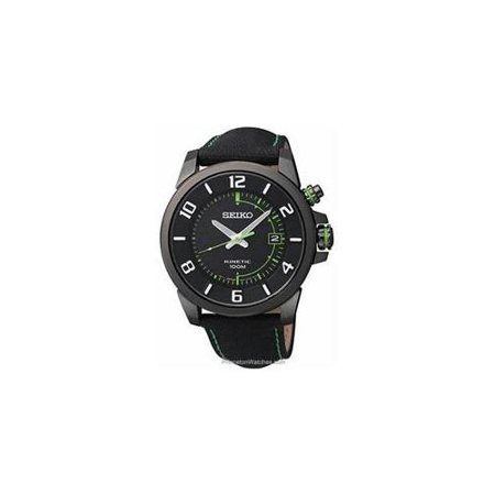 Seiko SKA557 Mens Black Stainless Steel Case Leather Strap Kinetic Black Dial Date Display Watch