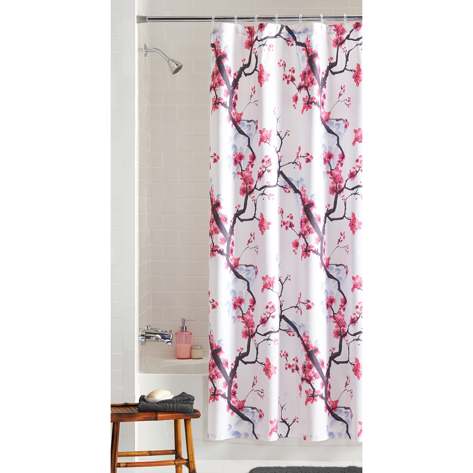 Mainstays Pink Blossom Fabric Shower Curtain