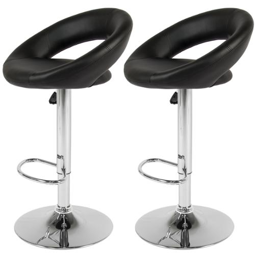 BCP Set of 2 PU Leather Adjustable Swivel Bar Stool Hydraulic Barstool Black.