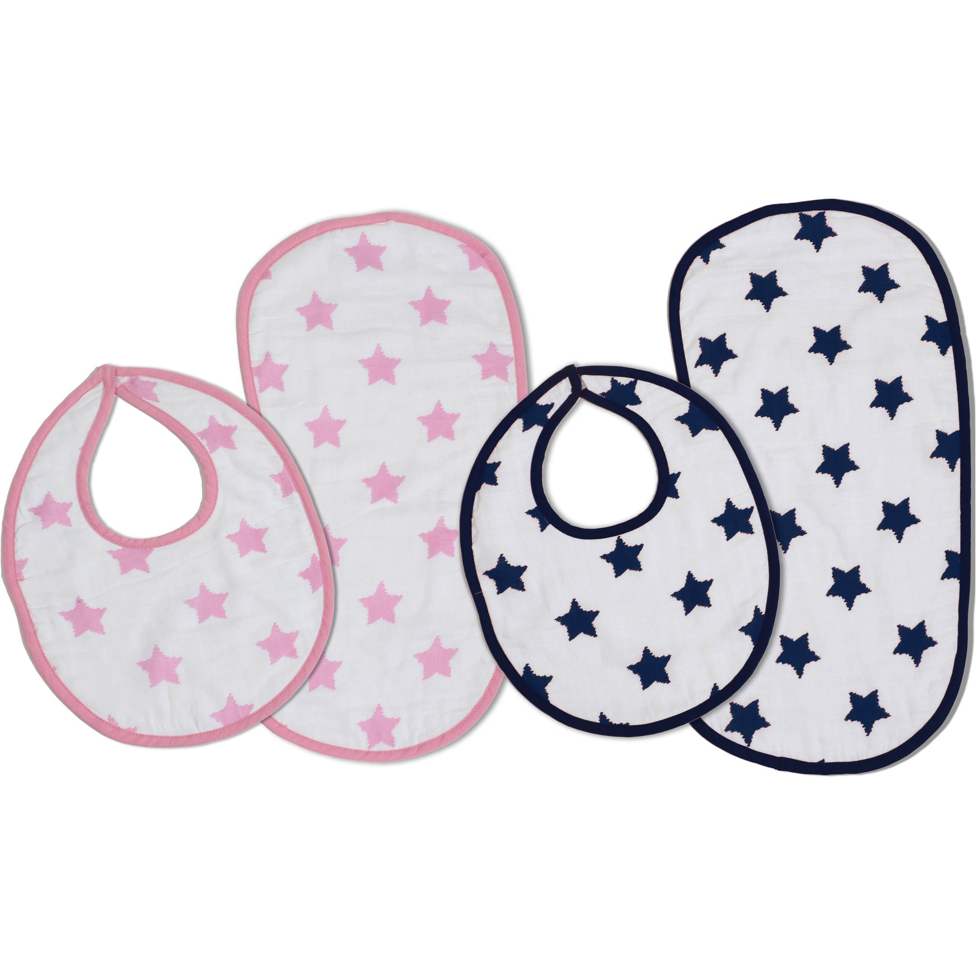 Bacati Stars Pink/Aqua Muslin Burp Cloths/Bib Set, 4 pc