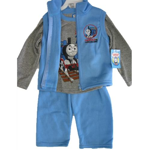 Thomas and Friends Little Boys Gray Blue Train Print Vest Shirt 3 Pc Pants Set 12M