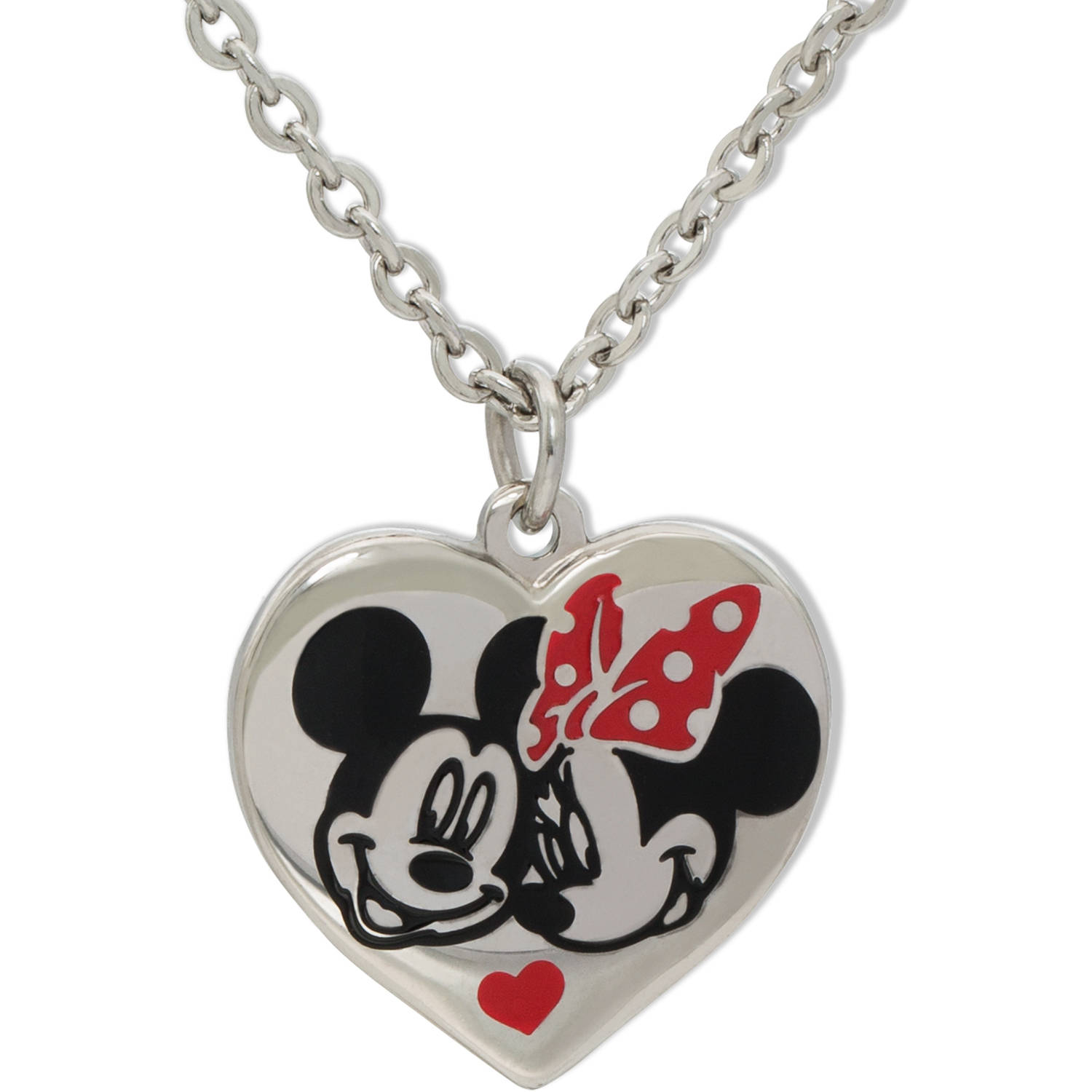 Disney Stainless Steel Minnie and Mickey Heart Pendant with Chain