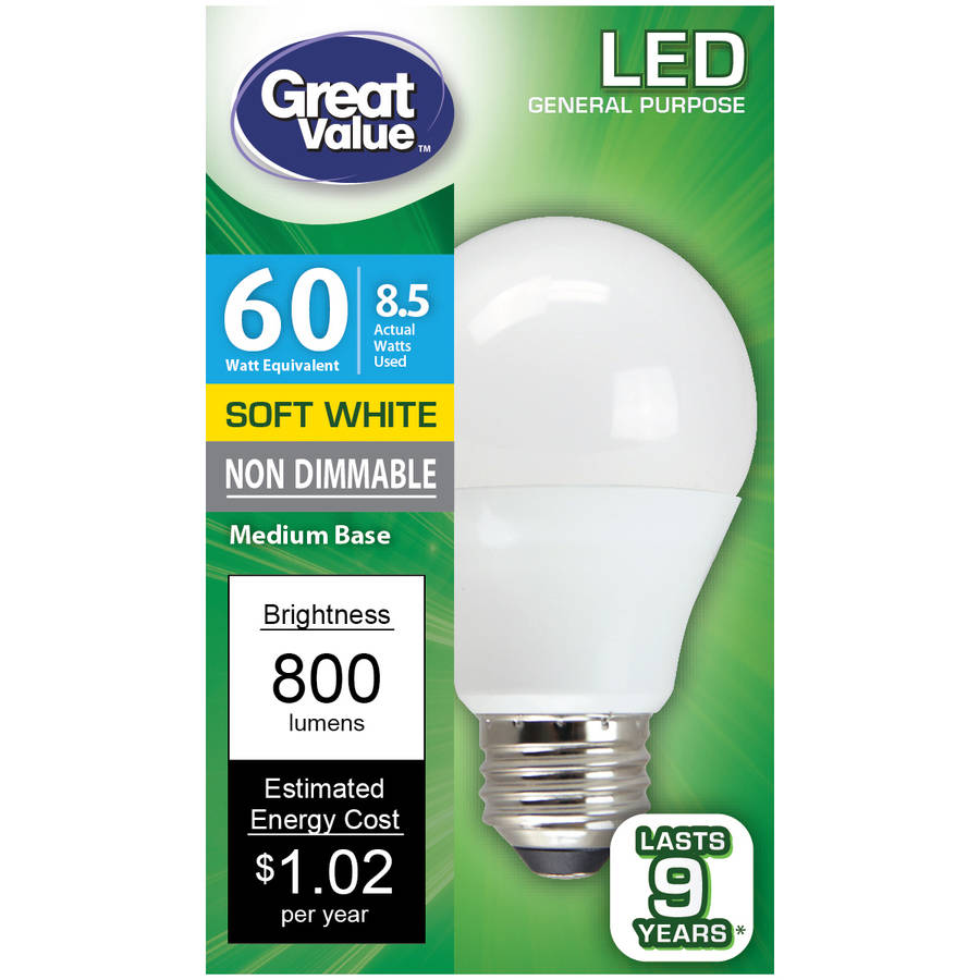 Great Value LED Light Bulb 8.5W (60W Equivalent) A19 (E26), Soft White