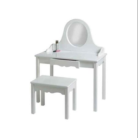 Kid's Vanity and Bench w Round Acrylic Mirror