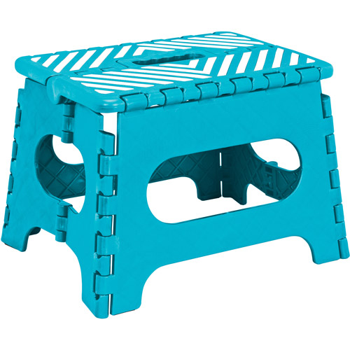 "Simplify 9"" Stripe Top Folding Step Stool"
